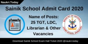 Sainik School Admit Card 2020